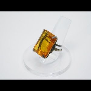 Sterling silver ring with large amber glass stone